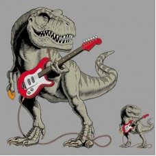 20pcs Guitar Dinosaur Cartoon Vinyl Patches For Clothing
