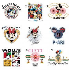 20pcs Chanel Gucci Mickey Vinyl Patches Iron On Appliques