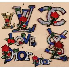10pcs Chanel LV SYL Dior Logo Glitter Patch