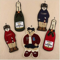 20pcs Bear Wine Bottle Sew On Patch Brand Patchwork