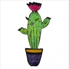 20pcs Cartoon Cactus Sequined Patches Glitter Patchwork Appliques
