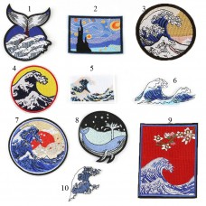 10pcs Kanagawa Surfing Embroidered Patch Patchwork