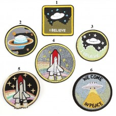 20pcs Galaxy UFO Rocket Iron On Embroidered Patches Appliques