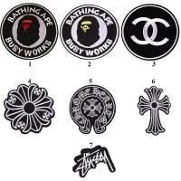 20pcs BAPE Versace Chanel Stussy Logo Iron On Patches